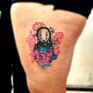 No Face tattoo by Laura Anunnaki. #LauraAnunnaki #noface #japanese #anime #studioghibli #spiritedaway #ghibli #cherryblossom