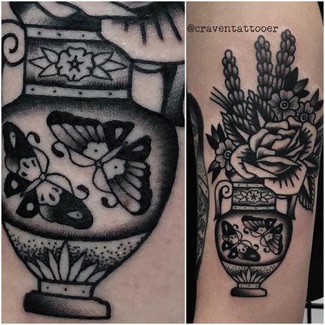 Vase Tattoo by Matt Craven Evans #vase #blackwork #blackworkart #darkart #blackworkartist #traditionalblackwork #MattCravenEvans