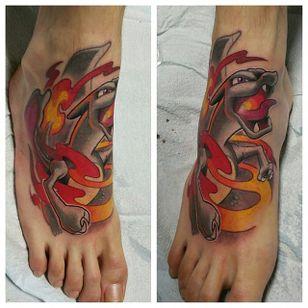 Fiery foot tattoo by Mitchel Von Trapp @Mitchelmonster #Mitchelvontrapp #Newschool #Fantasy #AtomicZombietattoo