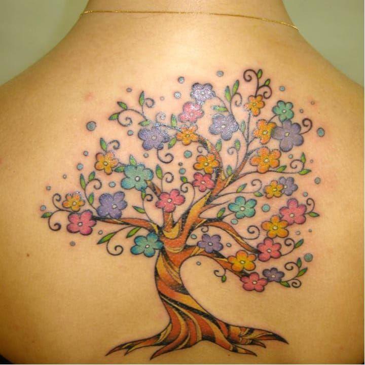 #arvore #tree #LuizaFortes #tatuagensColoridas #colorful #fineline #traços #minimalista #artistaNacional #brasil