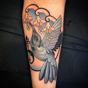 Hummingbird tattoo by Vale Lovette #ValeLovette #besttattoos #color # neotraditional #bird #hummingbird #flowers #design #fleurdelis #artdeco #feathers #nature #tattoooftheday
