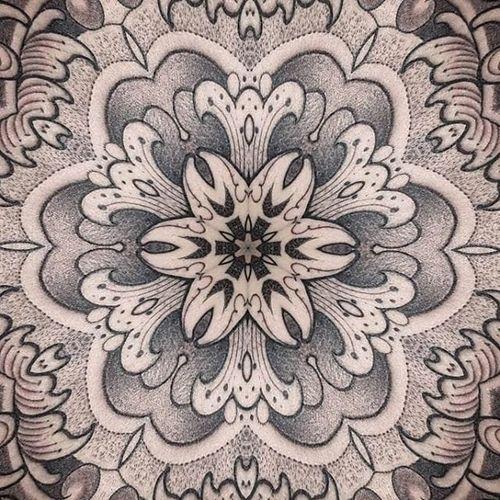 Mandala details by PepeVicio #PepeVicio #blackandgrey #mandala #dotwork #linework #tattoooftheday