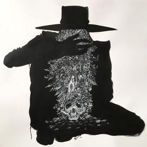 One of Zac Scheinbaum's deathly silhouettes from the Goodbye art show (IG—zacscheinbaum). #artshow #fineart #Goodbye #KingAvenueTatoo #silhouette #ZacScheinbaum