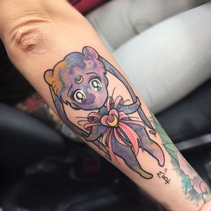 Sailor Moon tattoo by Michela Bottin. #MichelaBottin #anime #sailormoon #kawaii #chibi #watercolor
