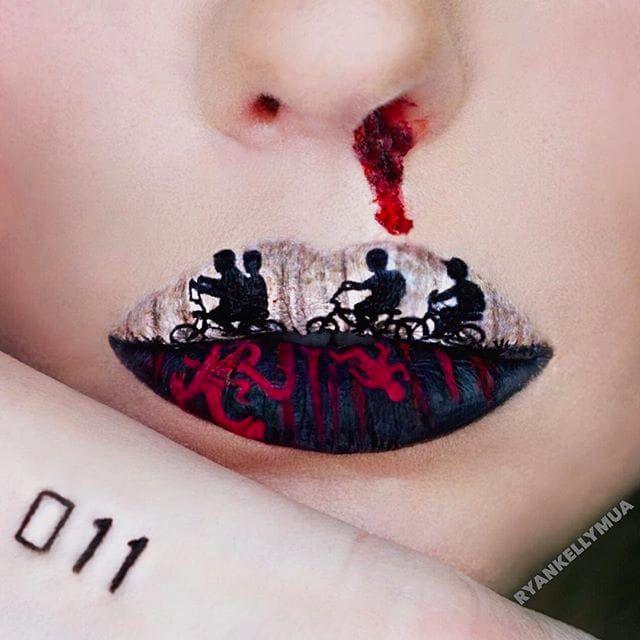 Stranger Things Lip Art by @Ryankellymua #Lipart #Makeupart #Makeup #Ryankellymua #Strangerthings