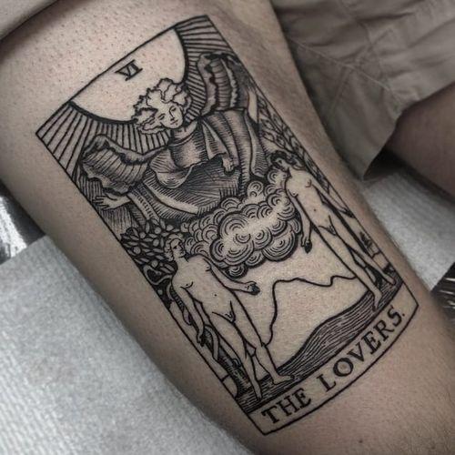 Lovers tarot tattoo by Sharna Lee Turner #tarot #SharnaLeeTurner #tarotcard #lovers #blackwork