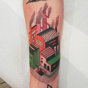 Factory tattoo by Rion #Rion #architecturetattoos #color #linework #newtraditional #dotwork #buildings #factory #industrial #smoke #tattoooftheday