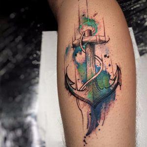 Obra de Fe Rod! #FeRod #ancoras #anchor #aquarela #watercolor #tatuadoresdobrasil