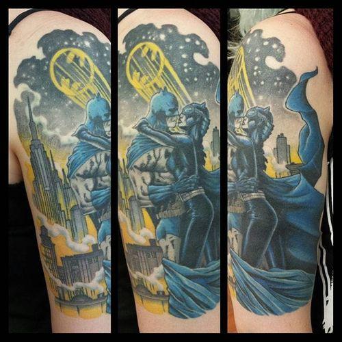 Catwoman/Batman Tattoo by Måry Mådsen #Catwoman #Batman #DCComics #MaryMadsen