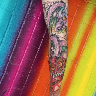 Paes 164's neo-traditional take on classic iconography from Irezumi. #colorful #dragon #neotraditional #oni #Paes164