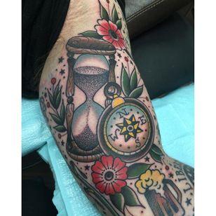Hourglass Tattoo by Katie McGowan #Traditional #BoldTattoos #ColorfulTattoos #Colorful #KatieMcGowan
