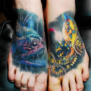 Angler fish and blue ring octopus feet tattoos by Justin Buduo. #realism #colorrealism #JustinBuduo #fish #anglerfish #octopus #blueringedoctopus