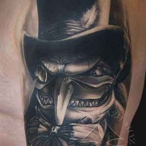 Penguin Tattoo by @studiotatuazuostrydyzur #thepenguin #penguin #batman #batmanink #dannydevito #batmancomic #comics #portrait