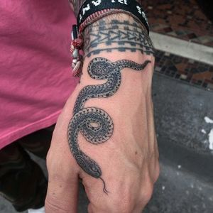 Black and grey snake by Big Steve NYC #BigSteveNYC #blackandgrey #snake #linework #tattoooftheday