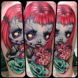A cartoonish zombie girl by Kelly Doty (IG— kellydotylovessoup). #brains #cuties #KellyDoty #newschool #zombie