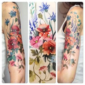 Meadow of flowers watercolor tattoo by Aga Yadou. #flowers #watercolor #styledrealism #AgaYadou