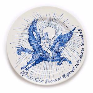 Original, single edition porcelain plate, based off of Russian Prison Tattoos, by Valeria Monis. #ValeriaMonis #RussianPrisonTattoo #PrisonTattoos #ArtShare #Porcelain #Artist