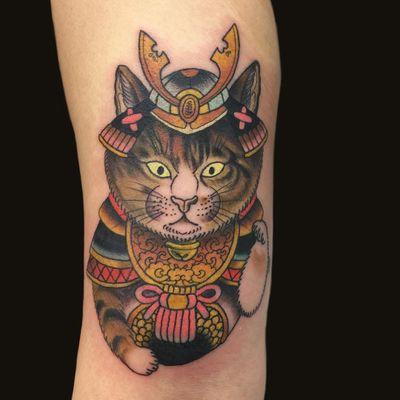 Tattoo by Wendy Pham #WendyPham #TaikoGallery #WenRamen #newtraditional #color #Japanese #mashup #samurai #cat #kitty #petportrait #armour #warrior #pattern #animal