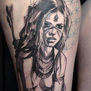 Contemporary tattoo by L'oiseau #Loiseau #contemporary #graphic #sketch #monochromatic #monochrome #warriorwomen