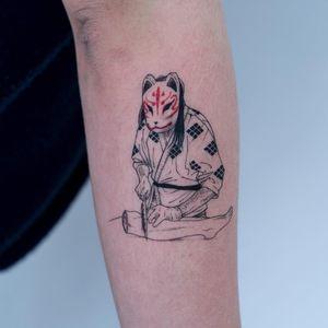 Kitsune Yokai tattoo by Oozy #Oozy #yokaitattoos #fineline #illustrative #kitsune #leg #horror #knife #mask #yokai #ghost #demon #spirit #folklore #legend #spooky #possessed #creature #surreal #weird