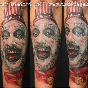 Captain Spaulding tattoo by Dimitri HK #robzombie #DimitriHK #metal #musician #horrormovies #realistic #portrait #clown #CaptainSpaulding