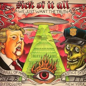 """A contemporary take on Sick of It All's track """"We Want the Truth"""" by Mike Bee (IG—mikeb_bfg). #artshow #fineart #MikeBee #music #NewYorkHardcoreTattoo #OnlyOneFuckingNewYorkCity #SickofItAll"""