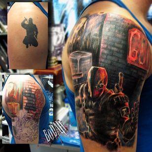 Deathstroke Tattoo by Bodah #Deathstroke #DeathstrokeTattoos #DeathstrokeTattoo #DCComics #DCTattoos #ComicTattoos #DCTattoos #VillainTattoos #Bodah