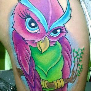 Coruja ultra colorida! #coruja #owl #colorida #WillTatuagens #brasil #brazil #portugues #portuguese
