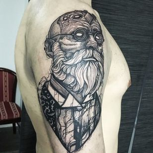 TV show The Knick inspired tattoo by Ergo Nomik #ErgoNomik #blackwork #beardedmen