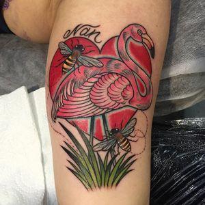 Flamingo, heart and bees tattoo by Ebony Mellowship. #neotraditional #EbonyMellowship #flamingo #heart #bee