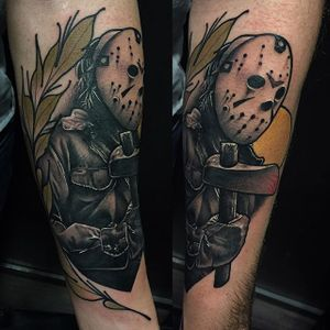 Jason Voorhees Tattoo by Didac Gonzalez #JasonVoorhees #FridayThe13th #horror #DidacGonzalez #13 #moviecharacter #axe #mask