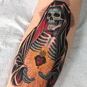 Virgin Mary Sacred Heart tattoo by Death Cloak #DeathCloak #hearttattoos #traditional #sacredheart #heart #fire #skeleton #virginmary #light #thorns #blood #death #skull