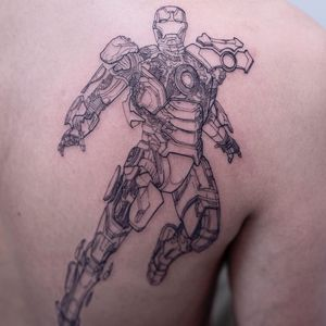 Iron Man tattoo by Oozy #Oozy #movietattoos #linework #fineline #illustrative #ironman #marvel #comicbook #hero #robot #scifi #superhero