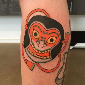 Mask Tattoo by Monta Morino #japanese #japanesetattoo #japanesetattoos #asian #asiantattoos #japanesetattooartist #traditionalajapanese #japaneseimagery #MontaMorino