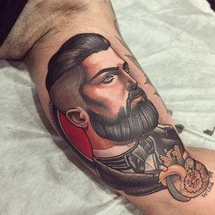 Gentleman portrait tattoo by Mimi Madriz. #MimiMadriz #neotraditional #portrait #gentleman