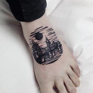 Cityscape tattoo by Eugene aka Dusty Past #Eugene #DustyPast #architecturetattoos #blackwork #linework #building #bridge #sky #sun #moon #water #sea #spire #castle #cityscape #tattoooftheday