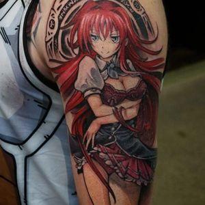 A tattoo of Rias Gremory by Hori Benny (IG—horibenny). #anime #BrianAshcraft #HoriBenny #Japanese #manga #Otaku #otatoo