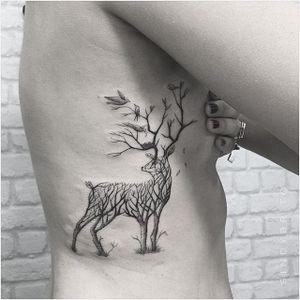 Deer tattoo by Sindy Brito. #SindyBrito #fineline #subtle #deer