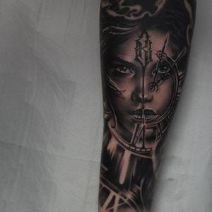 Clock Face Tattoo by Edgar Ivanov #Clock #BlackandGrey #BlackandGreyRealism #BlackandGreyTattoos #PortraitTattoos #Realism #EdgarIvanov
