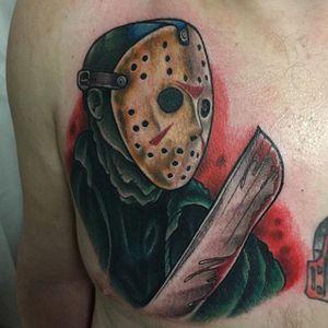 Tattoo by Ick Abrams #JasonVoorhees #FridayThe13th #horror #IckAbrams #13 #moviecharacter #machete #mask