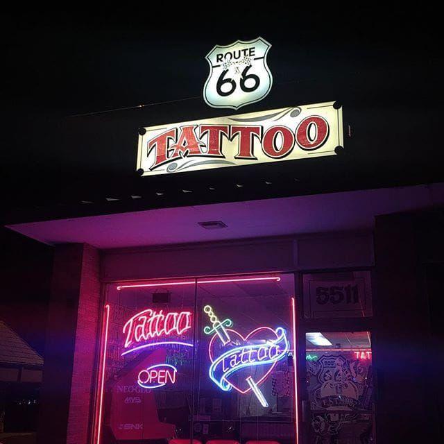 The outside of Route 66 Fine Line Tattoo in Albuquerque, NM. #Albuquerque #NewMexico #tattooculture