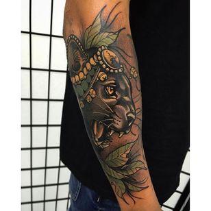 Tattoo by Tim Tavaria #neotraditional #realism #neotraditionalrealism #TimTavaria #cat #puma