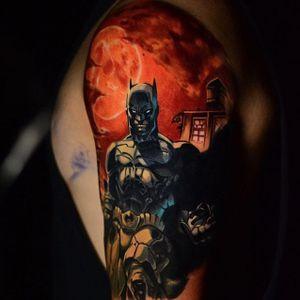 Batman tattoo by Ben Ochoa. #BenOchoa #colorrealism #popculture #batman #dc #superhero