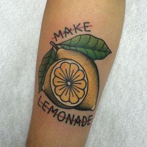 When life gives you lemons... Tattoo by Sonia Tattoo Lady. #traditional #lemon #citrus #lemonade #phrase #SoniaTattooLady