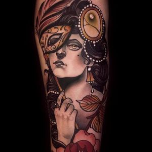 Masquerade. (via IG - imchrisgreen) #neotraditional #chrisgreen #lady #ladyhead #colorful