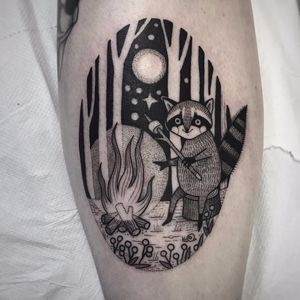 Come hang by the campfire by Suflanda #SusanneKonig #Suflanda #blackwork #linework #dotwork #nature #fire #campfire #raccoon #stars #marshmallow #trees #forest #flowers #snail #tattoooftheday