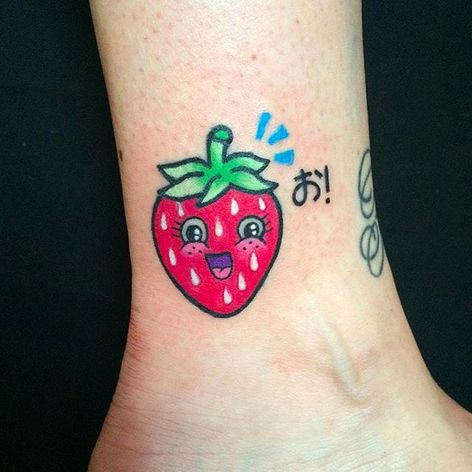 Kawaii Strawberry Tattoo by Maria Truczinski #MariaTruczinski #Cartoon #Kawaii #Cartoontattoo #Kawaiitattoo #Strawberry