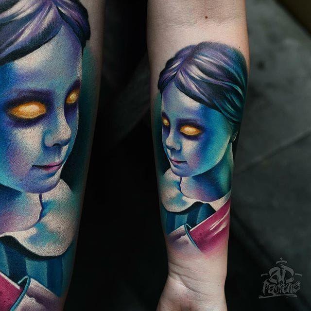 Creepy Girl Tattoo by Alex Pancho #realism #colorrealism #realistictattoo #abstractrealism #realistictattoos #AlexPancho