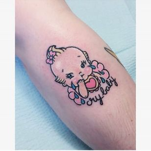 Little cry baby. (via IG - carlatattoos) #CarlaEvelyn #Cute #NeoTraditional #Baby #CryBaby