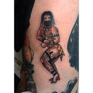 Big boy pin up tattoo by Jamie August. #JamieAugust #pinup #bigboypinup #man #pinupman #jungleman #trad #traditional #traditionalamerican